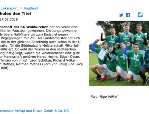 27.06.2018 Freie Presse – Faustballer holen Titel