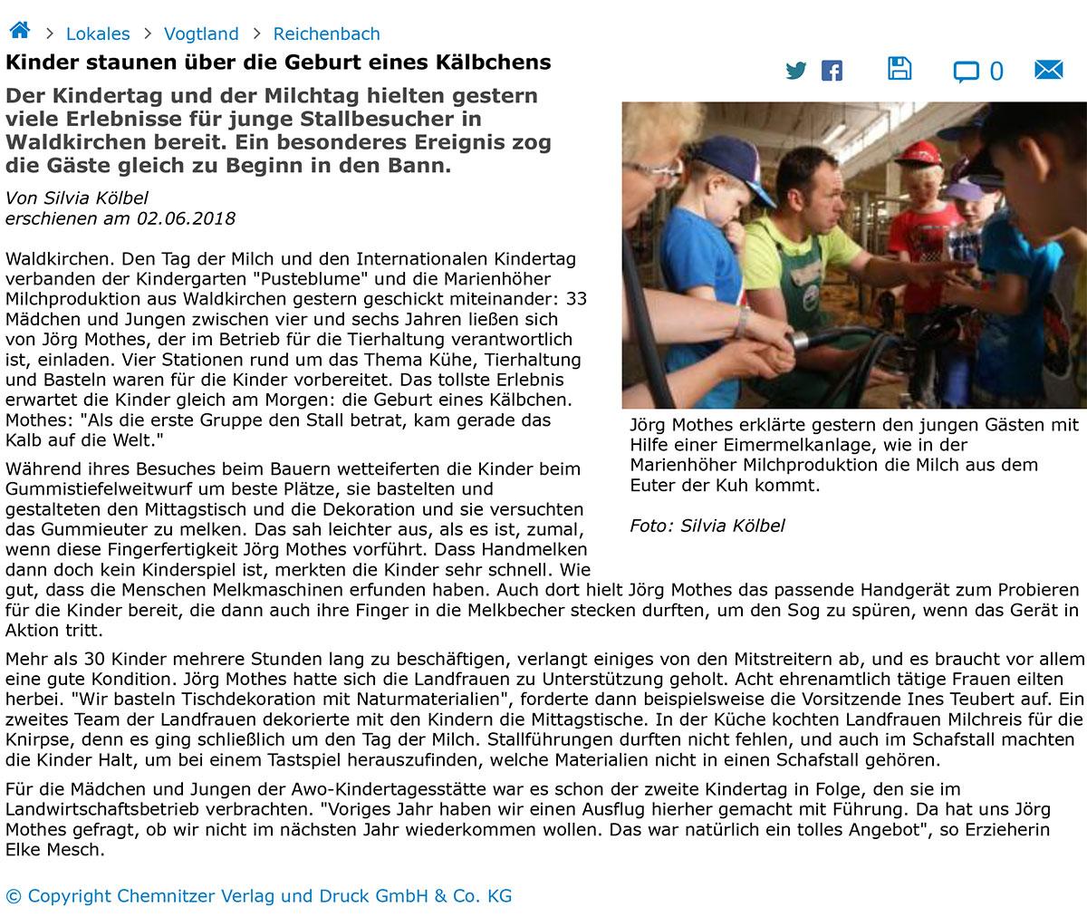 02.06.2018 Freie Presse - Kinder staunen über die Geburt eines ...